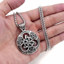 "Men Women Celtic knot Magic Pendant with 22"" Stainless Steel Necklace Chain Set"