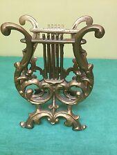 Vintage Metal Lyre Harp Holder Rack Stand Deco Victorian Hollywood Regency Gold