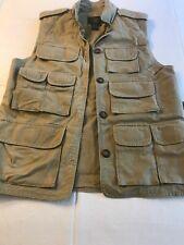 Orvis Men's Tan Button Up Canvas Fishing Utility Vest - Size S