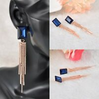Cute Hot Women's Attractive Gold Plated Blue Crystal Drop Dangle Chain Earrings