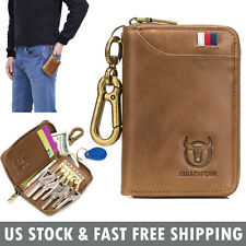 Genuine Leather Wallet Car Key Holder Case Keychain Bag Zipper Credit Card Purse