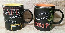 Starbucks Coffee Mugs (2) Black w/ Yellow & Orange / Cafe Mocha  12oz