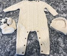 Baby Gap Gorgeous 3 Pc Cable Knit Outfit Unisex Cream W Hat N Booties Size 6-9m