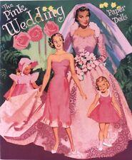 Vintge 1952 Pink Wedding Paper Doll ~Nice Laser Reproductin~Org Sz Uncut Lo Prc