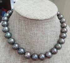 "HUGE 18""13-16mm south sea genuine gray green perfect round pearl necklace AA"