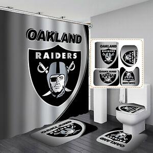 Oakland Raiders 4PCS Bathroom Rug Set Shower Curtain Toilet Lid Cover Decor Gift