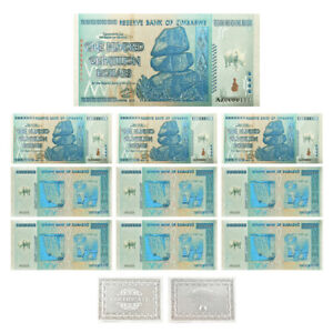 10pcs Zimbabwe100 Quintrillion Dollar Silver Foil Banknote Gift for Collection