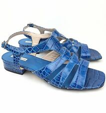 Dries Van Noten Blue Leather Croc Animal Print Sandals sz: 37.5 | US 6.5 - $645