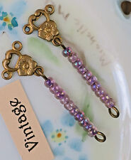 #26PR Vintage Drop Dangles Drops Earring findings Glass Beaded Ornate Long NOS