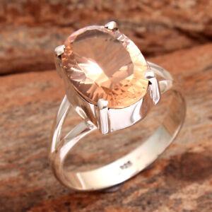 Morganite Oval Gemstone 925 Sterling Silver Handmade Ring Size US 9.75