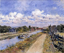 Oil painting theodore robinson - on the canal (of port ben series) landscape art
