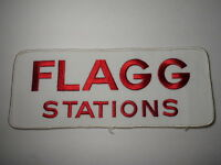 "Vintage 1980s FLAGG STATIONS LOGO EMBROIDERED ADVERTISING LARGE PATCH 10"" x 4"""