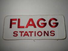 """Vintage 1980s FLAGG STATIONS LOGO EMBROIDERED ADVERTISING LARGE PATCH 10"""" x 4"""""""