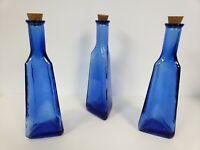 """3 Cobalt Blue Bottles lot Triangle shape with corks 10"""" high decor Vintage"""