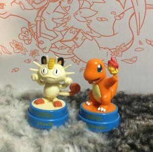 Pokemon - Meowth Charmander - Figure Toy Stamp Set - RoseArt Industries - 1999