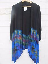 Stretch viscose black/ tie dye cardigan. fit 16 18 20  Gypsy hippy boho