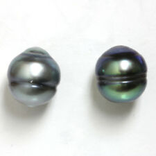 Tahitian South Sea Pearl Stud Earrings Grey Green 14kt Yellow gold