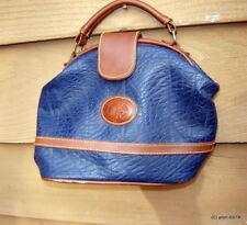 horse logo RETRO HINGE PURSE blue pebble ripple vinyl brown trim~medical Tote