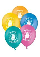 "Happy Birthday - Pug - 12"" Printed Assorted Latex Balloons pack of 12"