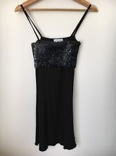 Bay Trading Company Size 10 Black Sequin Trim Strappy Dress <T7385
