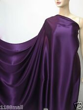 deep purple pure silk satin charmeuse fashion fabric per metre plain crepe back