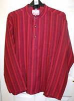 MENS PINK/RED MIX STRIPED GRANDAD FESTIVAL SHIRT HIPPIE ETHNIC NEPALESE SIZE XL