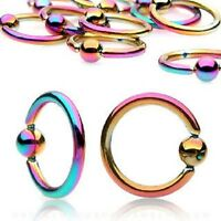 Rainbow Titanium IP Captive Bead Ring / Hoop / Lip / Nose / Belly Bar / Nipple