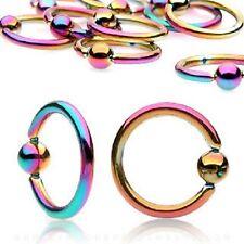 Rainbow Titanium IP Captive Bead Ring / Hoop / Lip / Nose / Belly Bar / Nipple