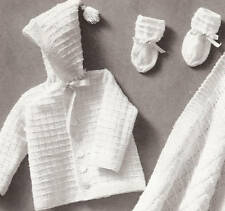 Vintage Knitting PATTERN to make Baby Hooded Sweater Blanket Booties InfantKnit
