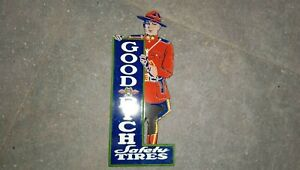 """Porcelain Goodrich Safety Tires Enamel Sign SIZE 4"""" x 8"""" Inches"""
