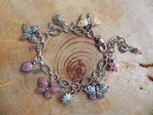"Brighton~Flutter Butterfly Silver & Enamel Charm Bracelet 7-7 3/4"""