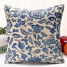 Vintage Oriental Blue Floral Cotton Linen Cushion Cover Pillow Case Home Decor a 45 X 45cm