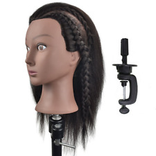 Afro Mannequin Head 100% Real Hair Hairdresser Training Head Manikin Cosmetology