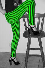 Toxic Tiger VERTICAL Striped LEGGINGS Black White Colour Stretch TIGHT Pants