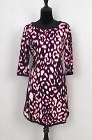 CROWN & IVY Blue-Ivory-Pink Print Shift Jersey Dress Ladies Size.M - Excellent!