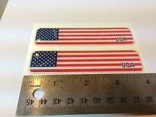 "USA America Flag Domed Decal Emblem  Car Flexible Sticker 4""x1"" Set of 2"