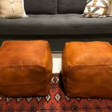 Set Of 2 New Leather Genuine Pouf Tan Square Moroccan Footstool Ottoman Pouffe