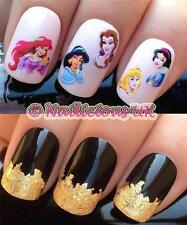 nail art set #101. disney princess transfers decals stickers & *FREE GOLD LEAF*