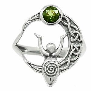 Celtic Goddess Moon - Genuine Faceted Moldavite 925 Silver Ring s.8 BR95065 XGB