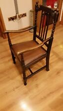 antique vintage dark oak open arm chair