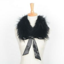 Women Real Fur Collar Soft Shawl Warm Scarf Coat Trimming With Ribbon 21691