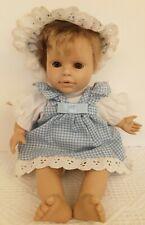 "Berenguer 10"" BABY DOLL Cloth Body Blond Hair Brown Eyes Blue Gingham Dress Hat"