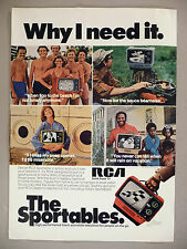 RCA TV PRINT AD - 1976 ~ The Sportables Portable Television