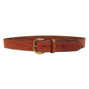 """Bianchi 12293 Tan/Suede 38"""" Waist Brass Buckle B9 Fancy Stitched Belt"""