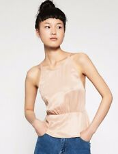 ZARA WOMEN  Blouse Top Shirt  nude dusty pink gold camisole straps size L
