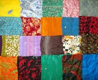 LOT ART SILK Antique Vintage Sari Fabrics REMNANT 20 pc 5 inch SQUARES MIX COLOR