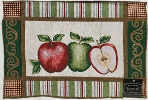 """Set of 2 Same Kitchen Tapestry Placemats, (13"""" x 19"""") 2 APPLES & HALF by HC"""