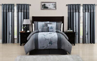 Chezmoi Collection 7-Piece Blue Gray Embroidered Floral Comforter Set or Curtain