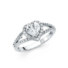 Real 14k White Gold Heart Round Solitaire Cz Engagement Wedding Ring Band