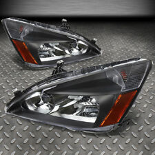 FOR 2003-2007 HONDA ACCORD PAIR BLACK HOUSING AMBER CORNER HEADLIGHT/LAMP SET